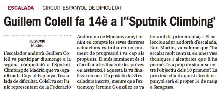 """Guillem Colell fa 14è a l'""""Sputnik Climbing"""""""